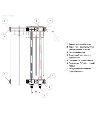 Алюминиевый радиатор отопления Rifar Alum 500 Ventil 10 секций