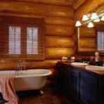 Установка ванной комнаты в деревянном коттедже