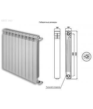Алюминиевый радиатор отопления Global ISEO 350 6 секций