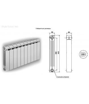 Биметаллический радиатор отопления Global Style Extra 350 8 секций