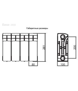 Биметаллический радиатор отопления Rifar Base 200 4 секции
