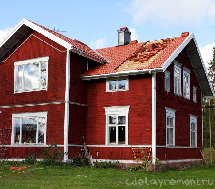 Наружная окраска дома из бруса