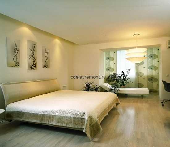 Фото бежевой спальни в стиле минимализм
