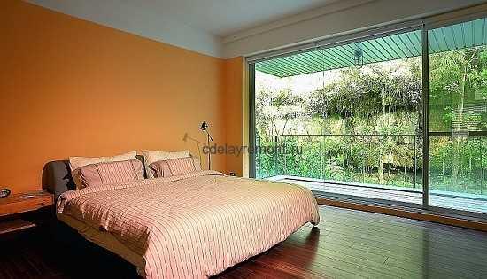 Фото оранжевой спальни в стиле минимализм