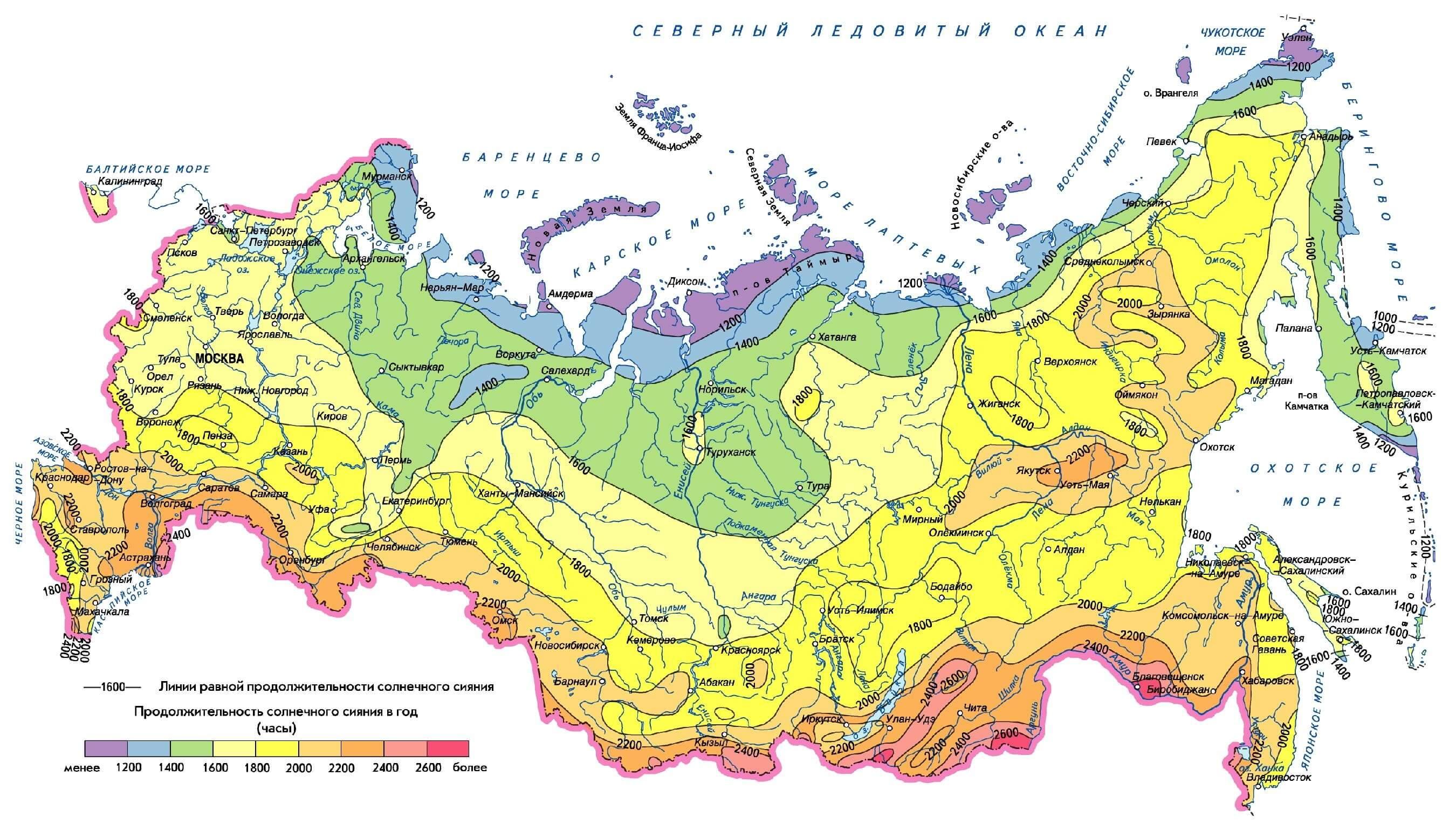 Карта продолжительности солнечного сияния в России