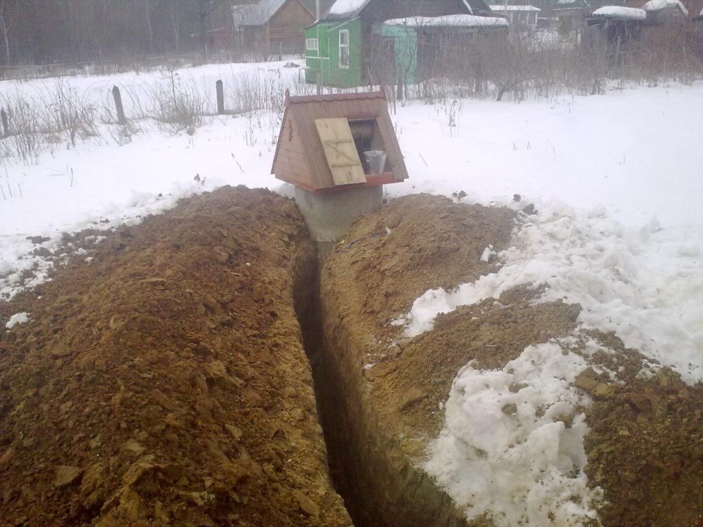Зимний водопровод на даче из колодца, монтаж труб, устройство траншей, земляные работы